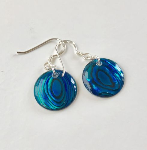 Paua Blue Earrings Circle PE18